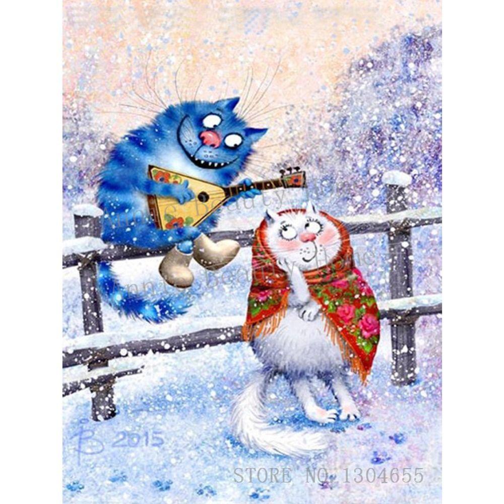 Вышивка крестом синие коты