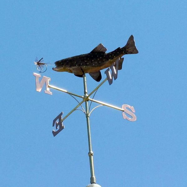 Copper and Brass #sculpture by #sculptor Stanley Jankowski titled: 'Brown Trout Weathervane (Personalised Commission Weather Cock)'. #StanleyJankowski