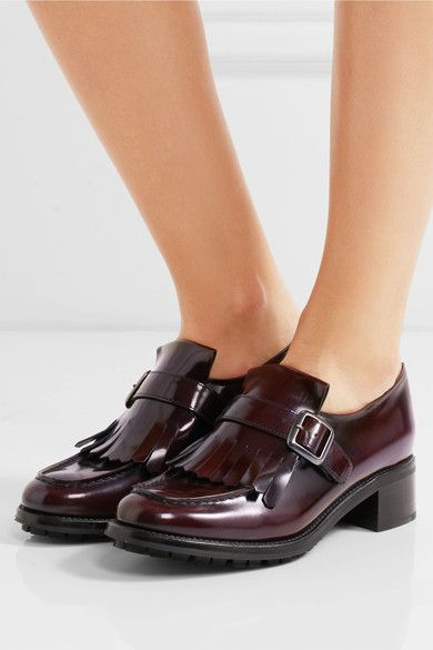8685aeb9027c Church s - Pilar Fringed Glossed-leather Loafers - Burgundy - IT ...