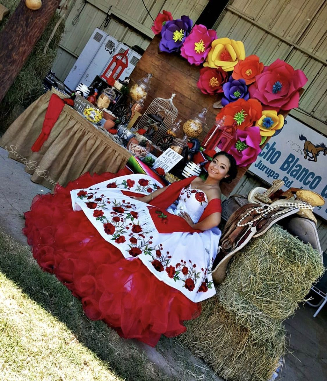 820416c1c0 Quinceañera charro mexican dress  red white roses