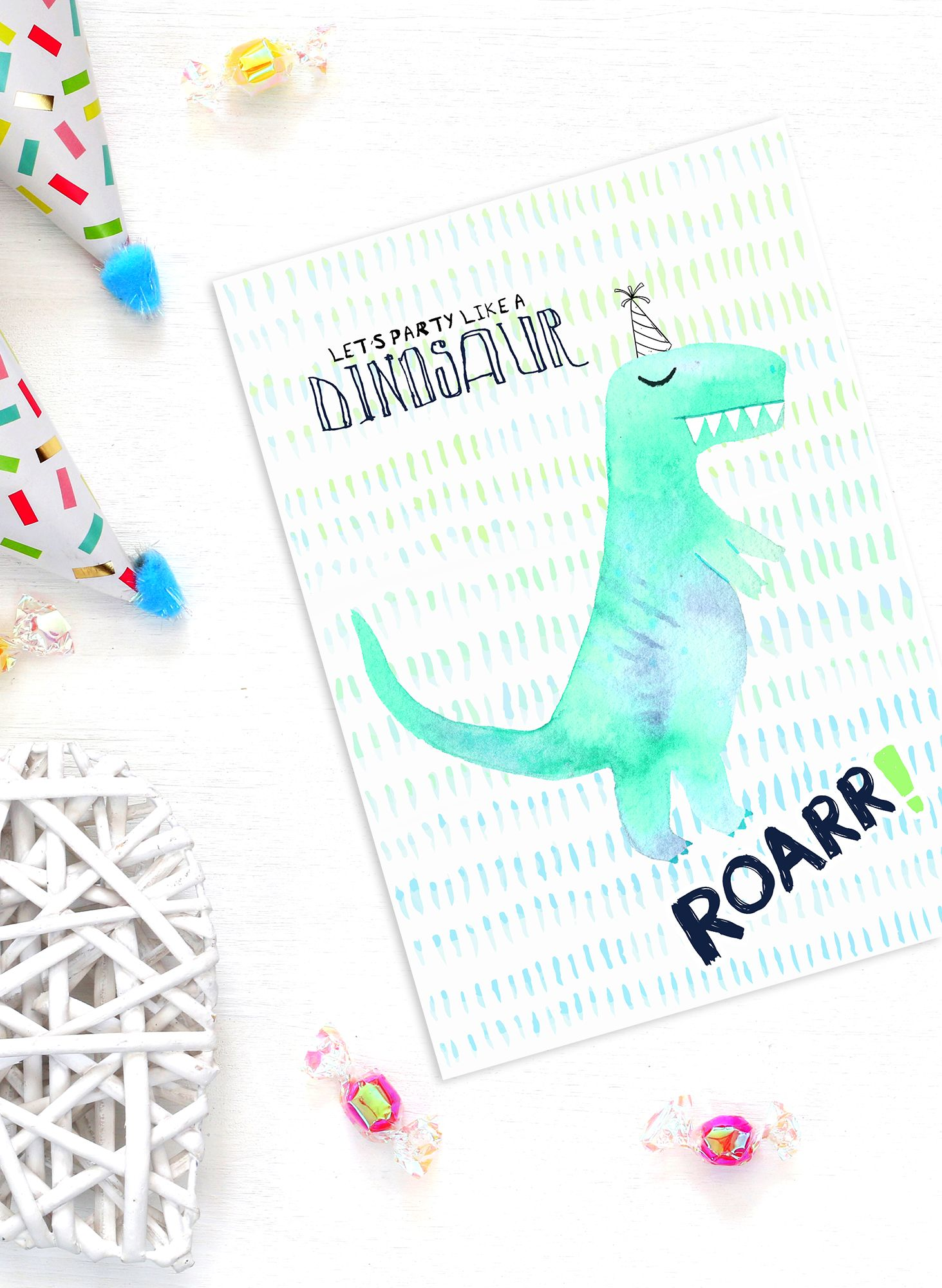 Roarr Dinosaur Party Invitations In Watercolors As Seen On