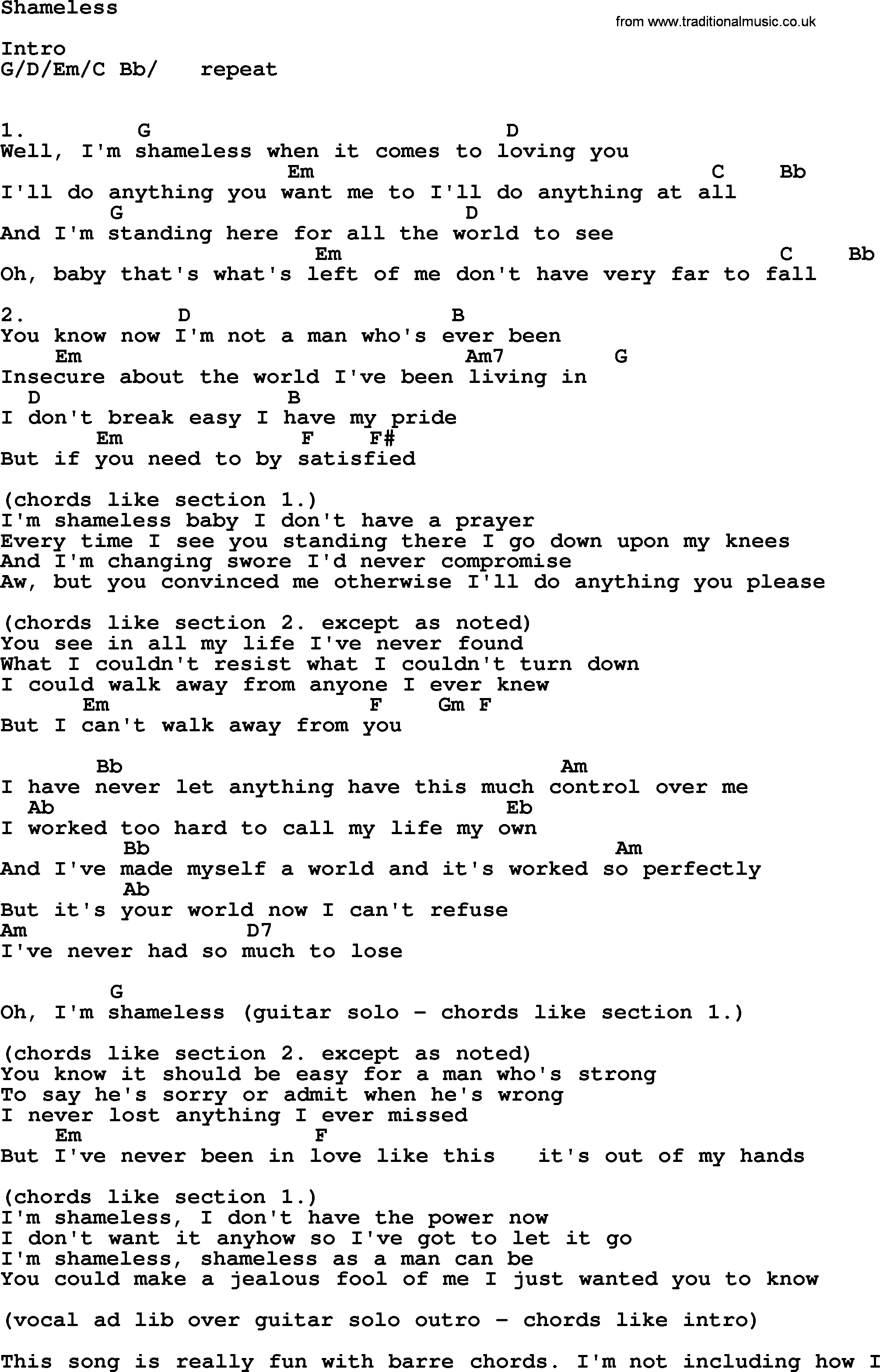 Tabs Shameless Lyrics And Chords Lyrics And Chords Guitar