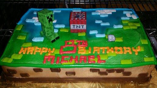 Brilliant Minecraft Scene On A Half Sheet Cake Minecraft Birthday Cake Birthday Cards Printable Giouspongecafe Filternl