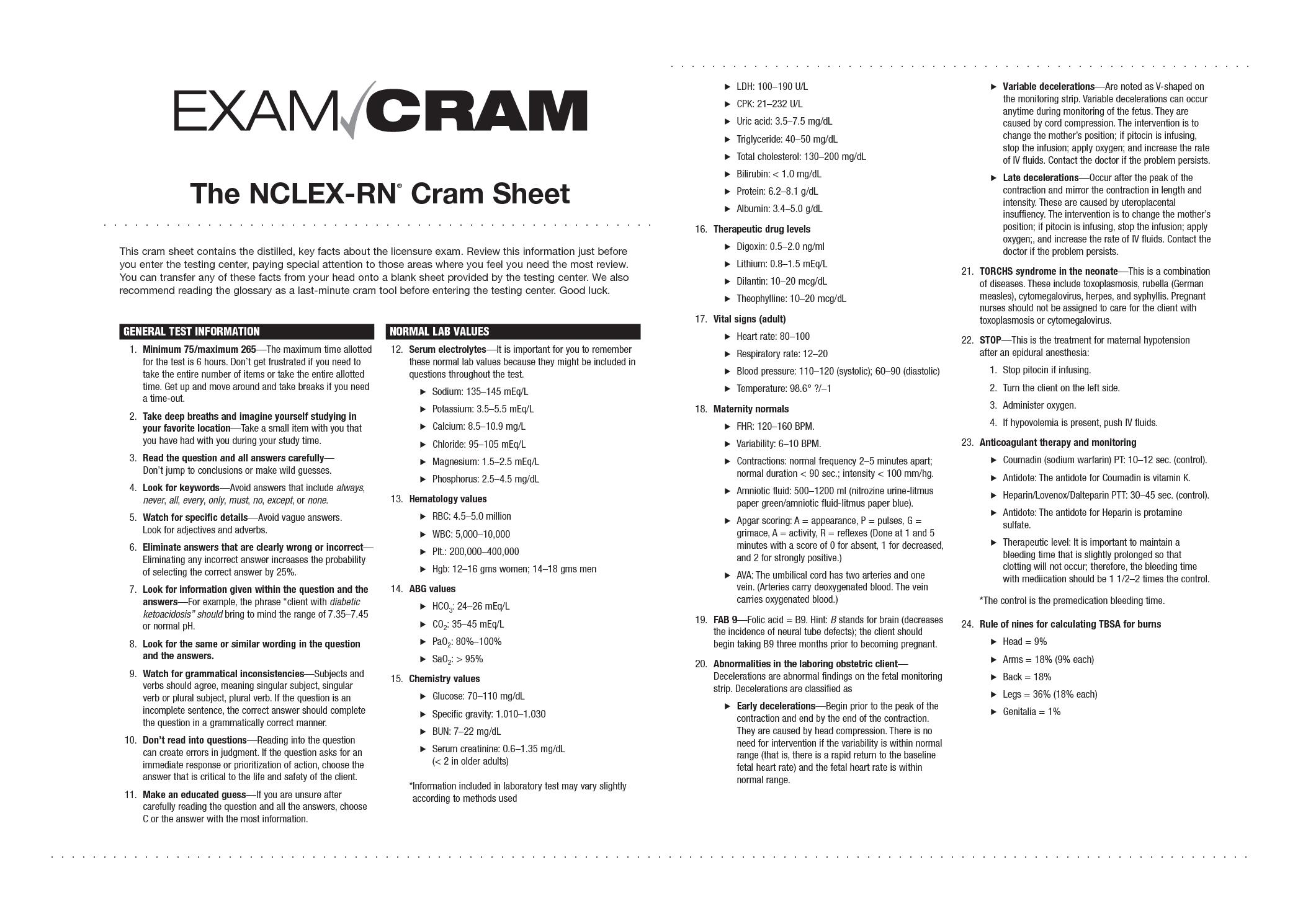 Blank Lab Value Sheet