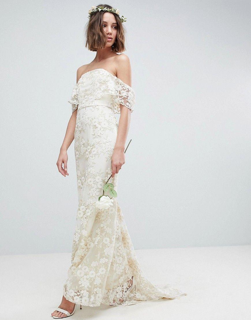 ASOS EDITION - Trägerloses, langes Hochzeitskleid aus floraler ...
