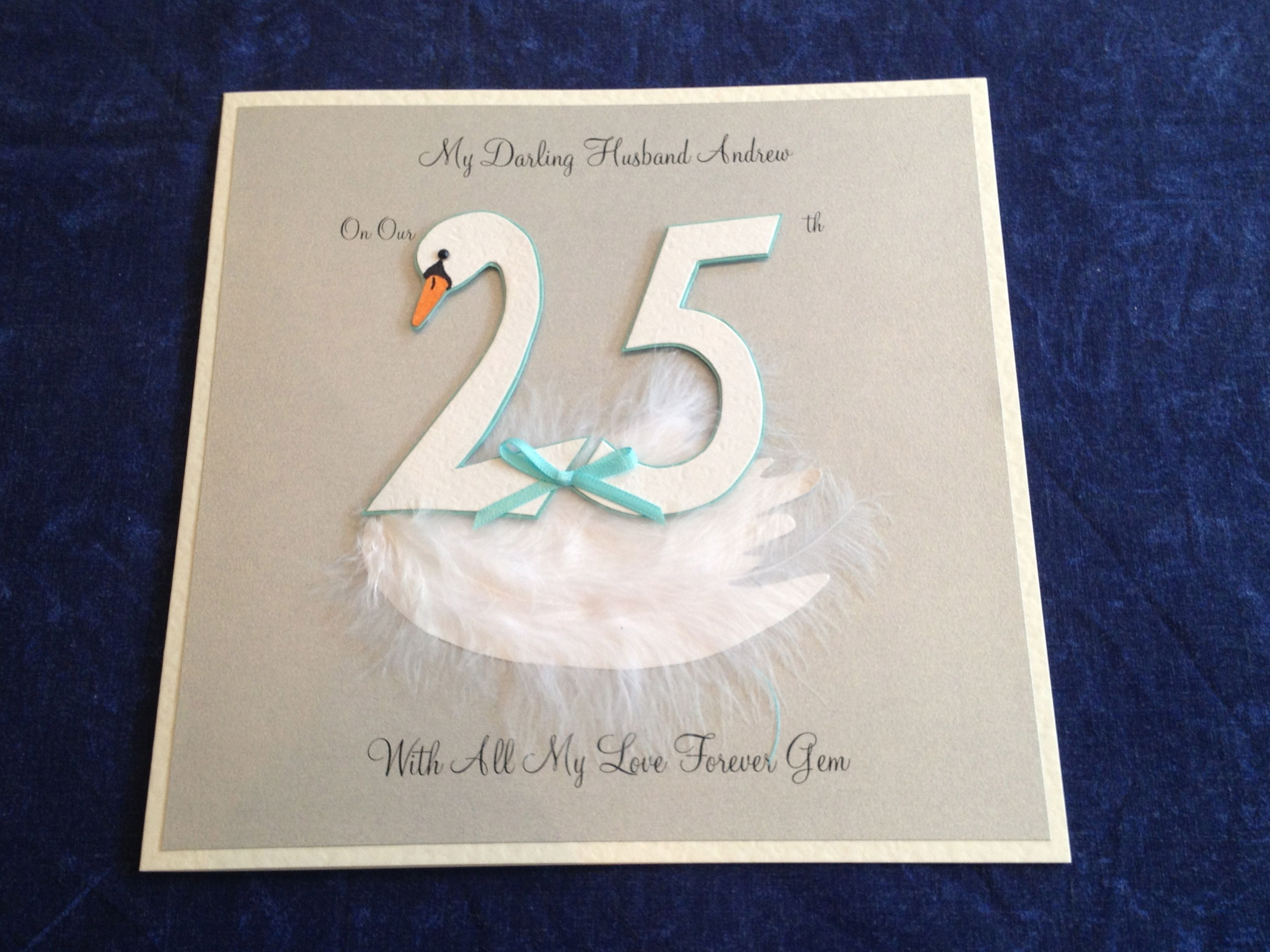 One of swan themed silver wedding anniversary cards i was asked