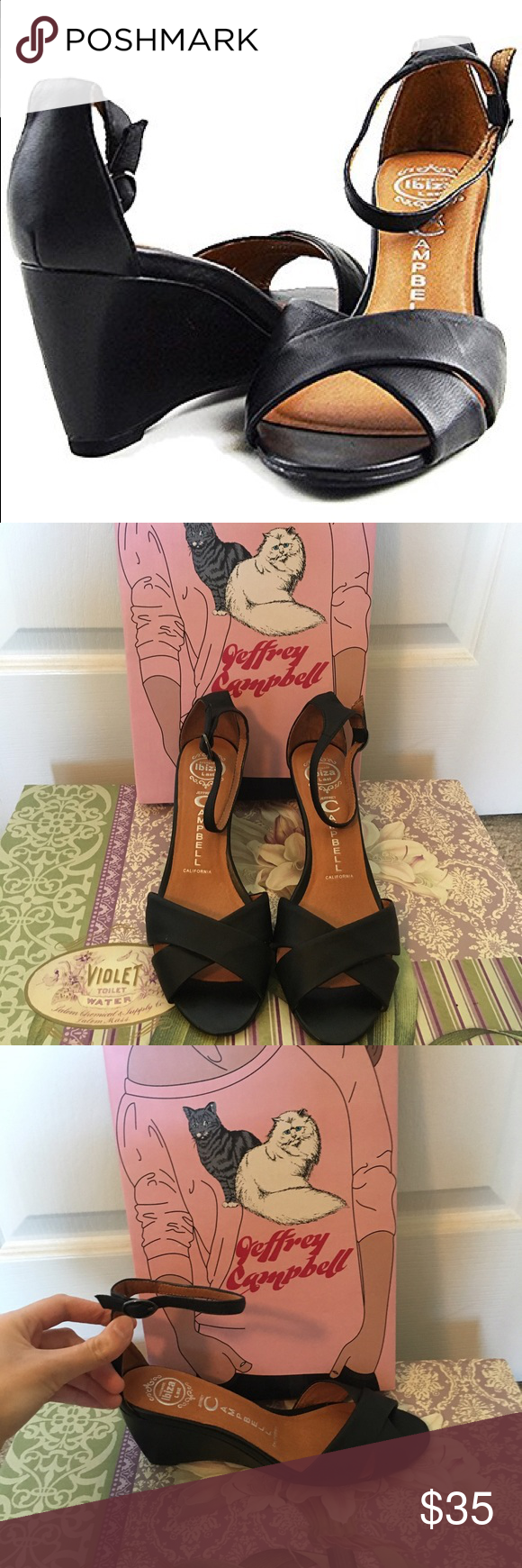 NWOT Jeffrey Campbell Trudeau Wedges Never worn, adorable wedges with a skinny ankle strap. Jeffrey Campbell Shoes Wedges