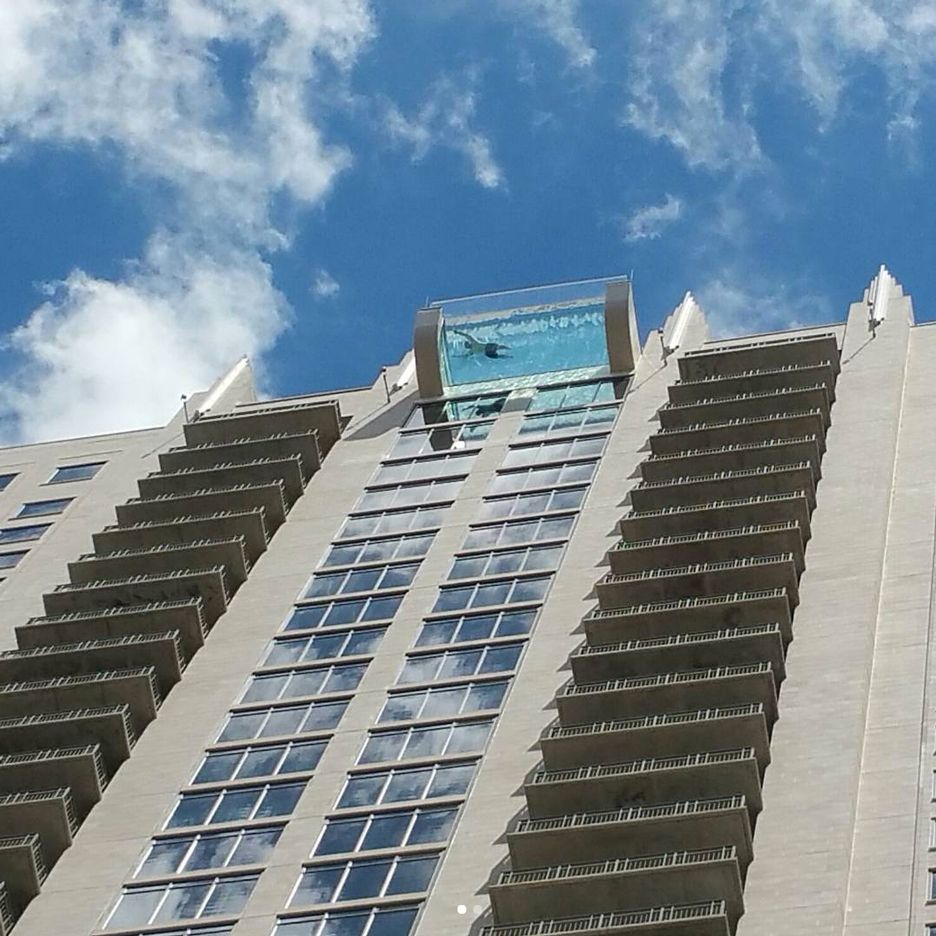 Glass Bottomed Sky Pool Suspends Swimmers 500 Feet Above Houston