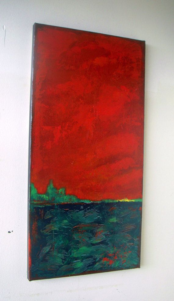 Original abstract painting palette knife Red Green by VESNAsART, $135.00