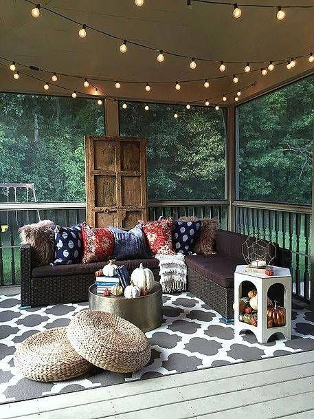 Screened in porch with string lights homeinteriordecorating home interior decorating pinterest decor and also rh