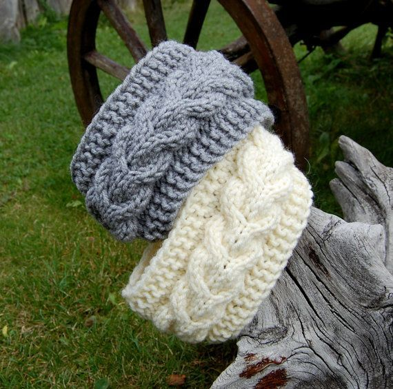 Photo of Knitted Headband, Hand knit head band, Knitted Ear Warmer, Hand knit hair access…