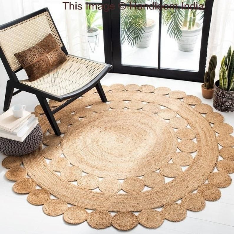 Extra Large Reversible Round Area Rug For Living Room 5 X 5 Etsy In 2020 Rugs In Living Room Round Area Rugs Jute Round Rug