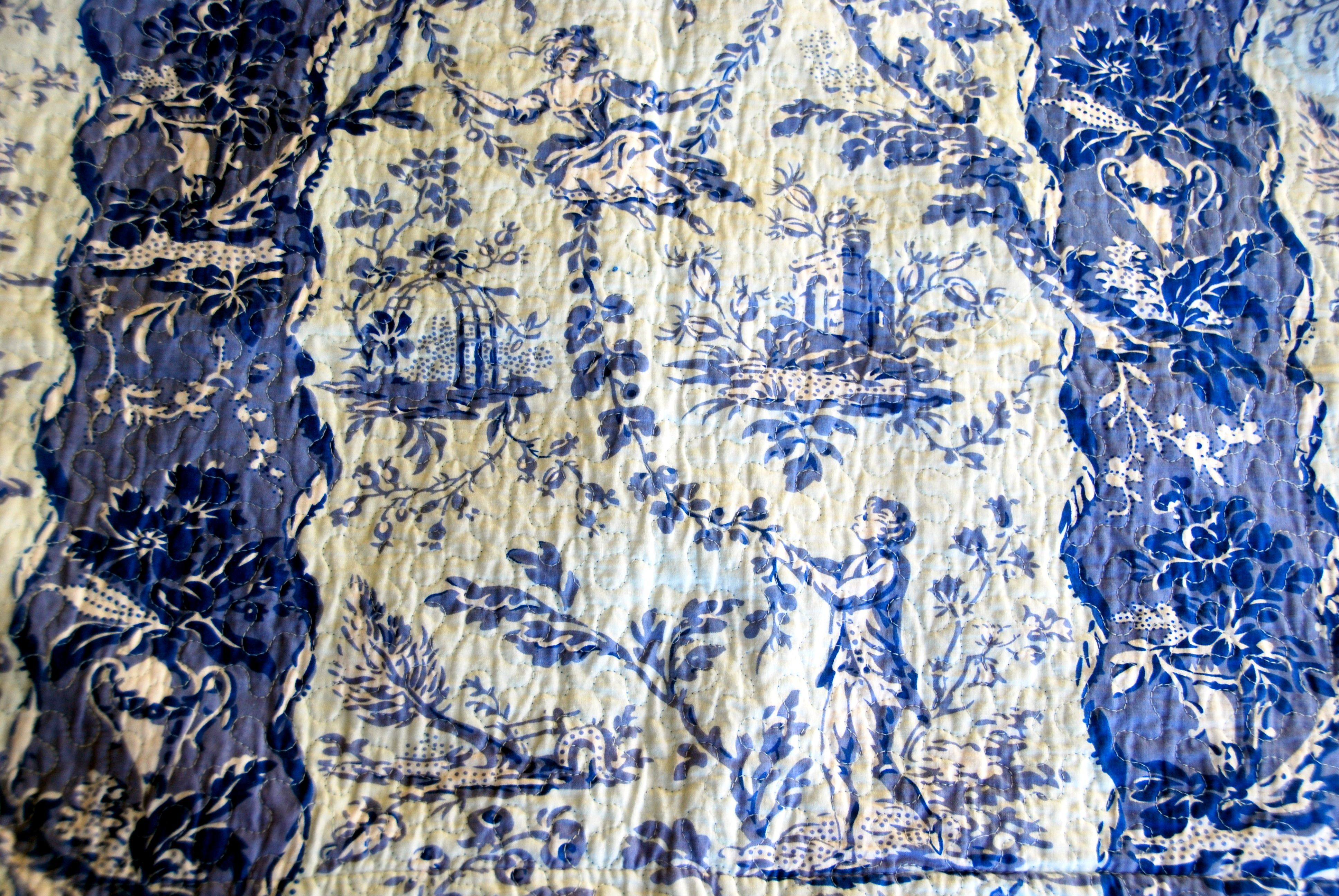 Quilted Toile blue & white sham Reversible
