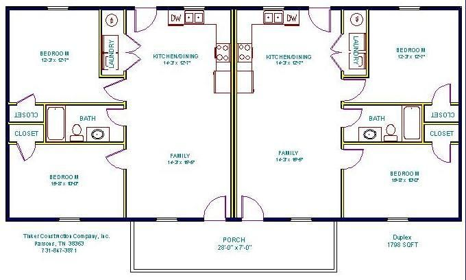 Tinker Construction Company Inc Floor Plans Duplex Floor Plans Small House Floor Plans Duplex Plans