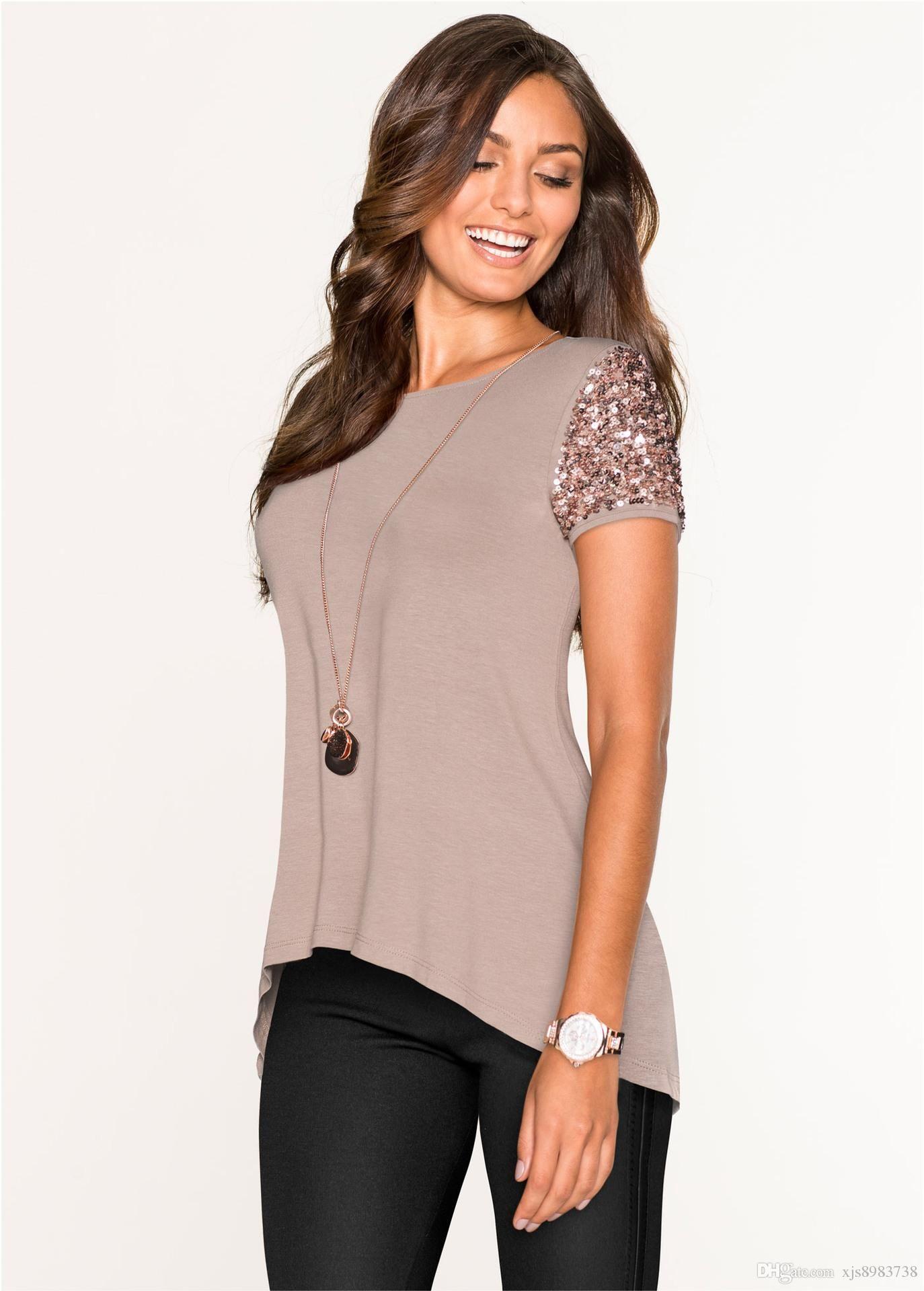 f7af5273 Plus Size Sequins T Shirt Women 2017 O Neck Summer Tops Short Sleeve  Fashion T Shirt Casual Tee Shirt Femme Poleras De Mujer T Shirt Online T  Shirt Designer ...