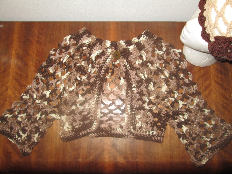 Girls Brown Bolero Crocheted by SuzannesStitches, Girls Brown Shrug, Girls Brown Sweater, by SuzannesStitches on Etsy