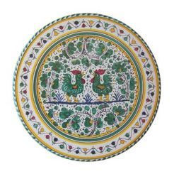 "CAKE PLATE: GALLO VERDE: 13.5"" (34cm) Diameter.    The Gallo (Rooster) pattern is a relatively new design delveloped in the 19th century & initially painted only in green. Based on 13th & 14th century green & white designs, ceramicists modernized the vegetal motifs adding the rooster. Today Sabbia Talenti offers the Gallo dinnerware pattern in Red and Blue as well as traditional Green. Sabbia Talenti recommends mixing the colors for the most effect.    This Piece is hand painted in Deruta."