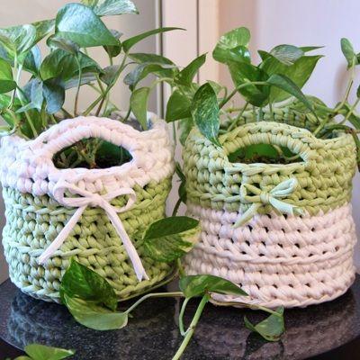 Patrón Macetero de trapillo | Trapillo y Crochet | Pinterest ...