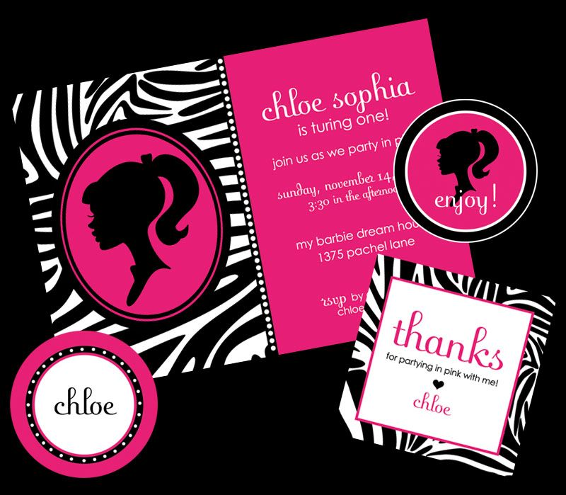 Barbie Zebra Theme 1st And 5th Birthday: Pin By Design Pretty On Sophie's 4th