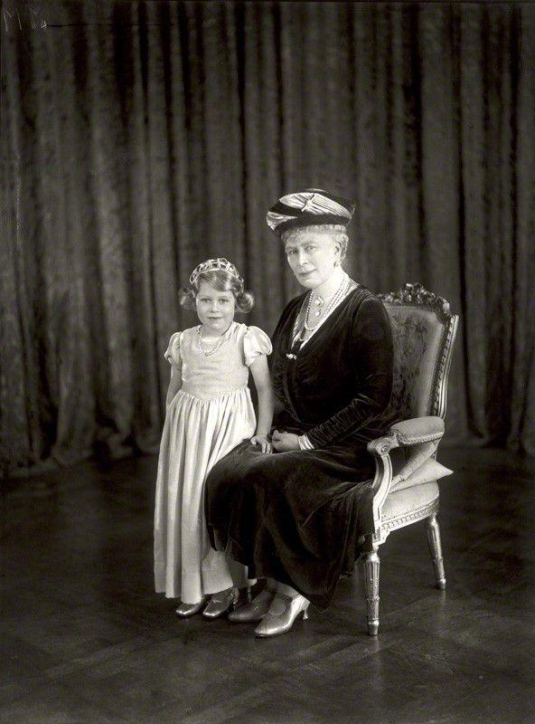 Queen Elizabeth Ii And Her Grandmother Queen Mary By Vandyk Whole