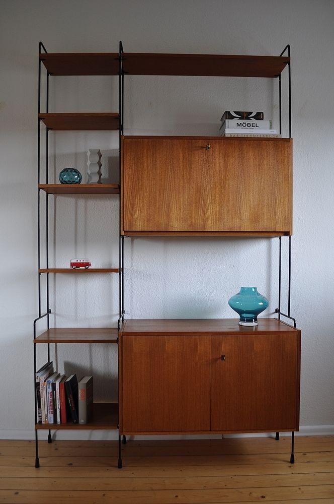 50er 60er omnia teak regalwand regal regalsystem v hilker. Black Bedroom Furniture Sets. Home Design Ideas