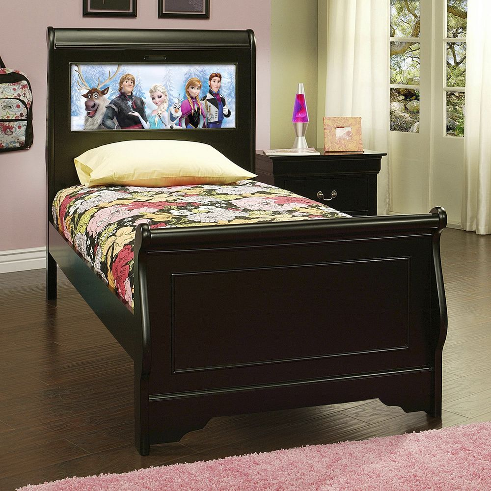 Best Lightheaded Beds Edgewood Satin Black Twin Sleigh Bed With 400 x 300