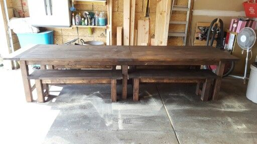 12 Ft Farmhouse Table With Benches I Built Farmhouse Table With Bench Farmhouse Table Decor Farmhouse Dining Room Table