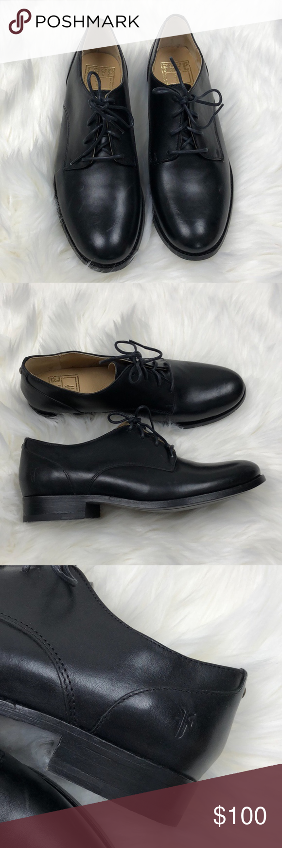 43e81300cd6 FRYE Black Leather Derby Loafers FRYE Black Leather Melissa Derby Lofters  Excellent Condition - Some Scuffing