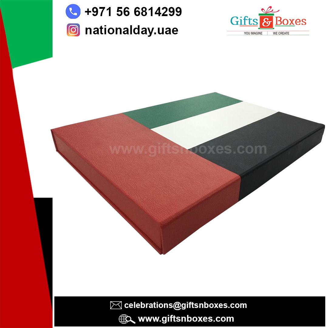 Handstitched Elegant #UAEnationalday #giftbox made in PU leather with branding.
