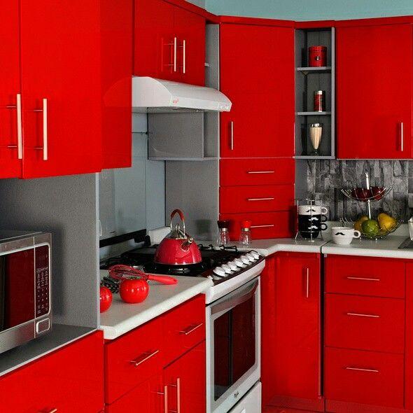 Rojo cocina dise o calidad descuento muebles - Cocinas color rojo ...