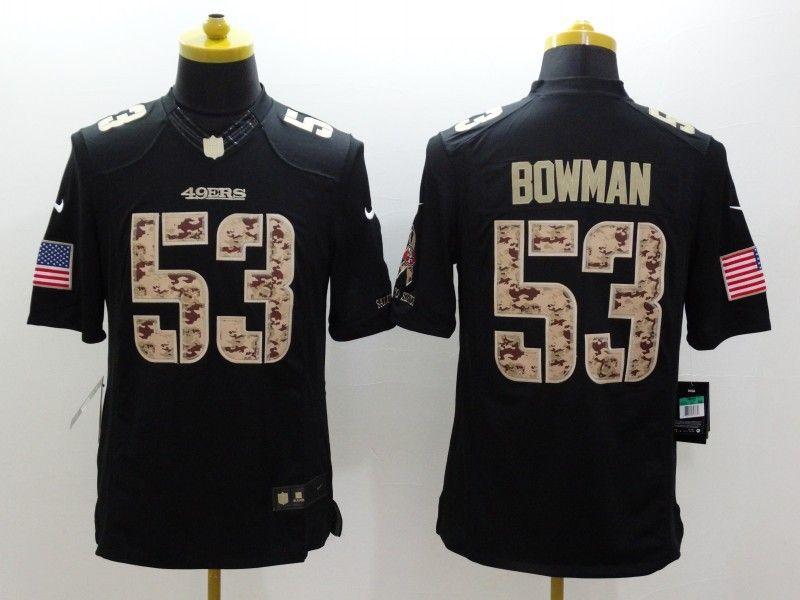 90642ad0d3b ... Cheap Wholesale Mens San Francisco 49ers 53 NaVorro Bowman Nike Black  Salute To Service Jersey ...