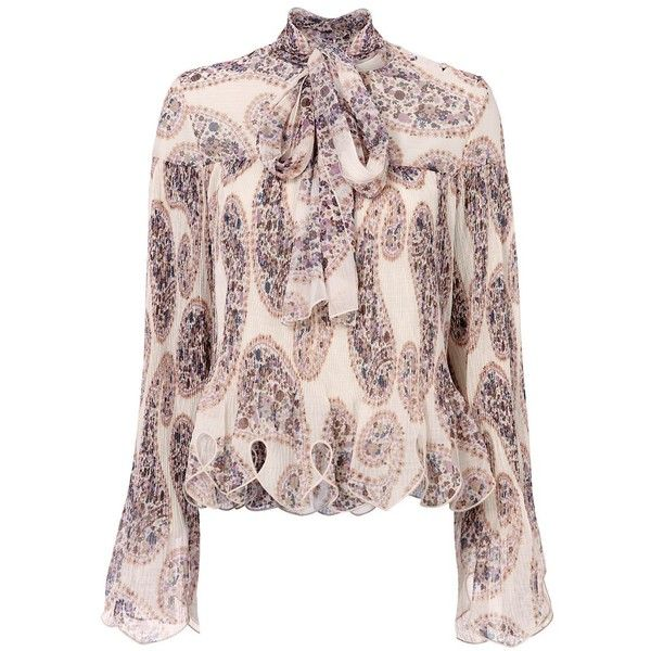 See By Chloé Women's Plisse Tie Print Blouse ($575) ❤ liked on Polyvore featuring tops, blouses, white, print top, see by chloe blouse, long sleeve blouse, sleeve blouse and long blouse