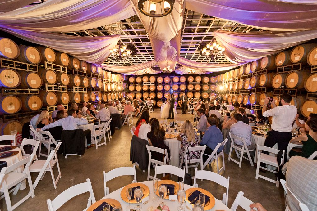 Romantic Purple Uplighting In The Wine Barrel Room Mount Palomar