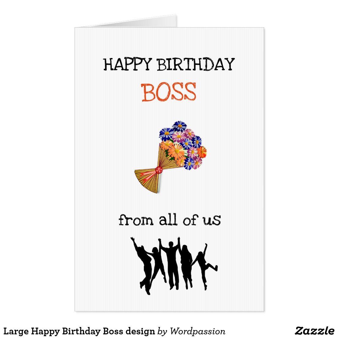 Large Happy Birthday Boss design Card Happy