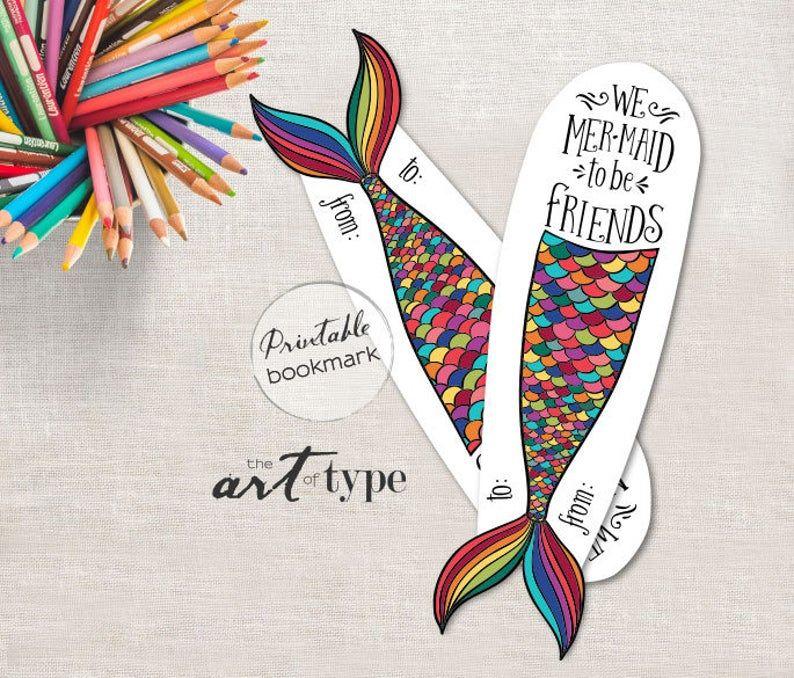 Mermaid Valentine RainbowParty Favor Printable Bookmark