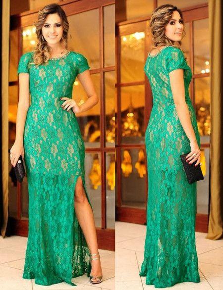 dd6470240 VESTIDO JADE FESTA LONGO RENDA VERDE | Casamento verde | Vestidos ...