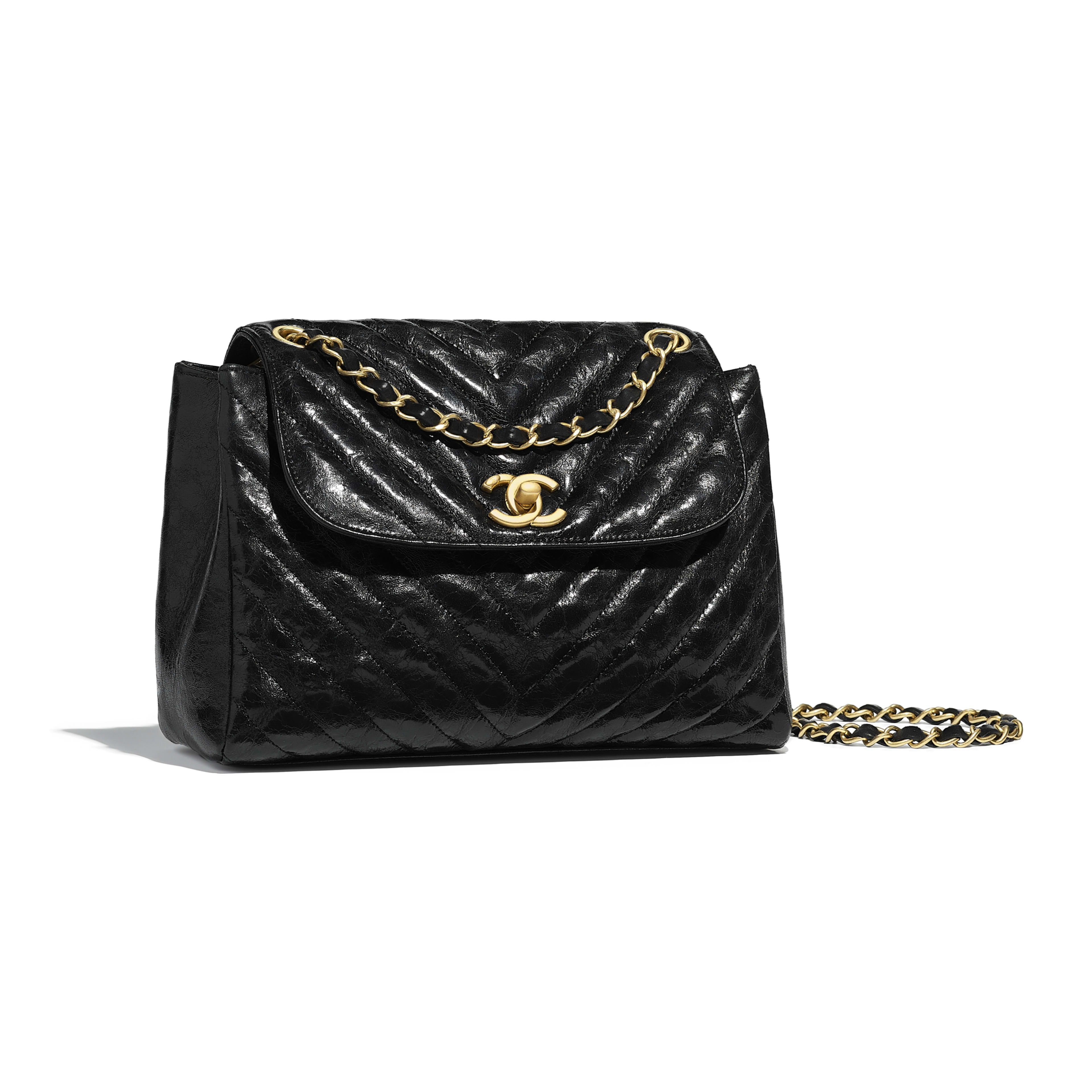 e3e123f8be Flap Bag - Black - Aged Lambskin   Gold-Tone Metal - Default view - see full  sized version