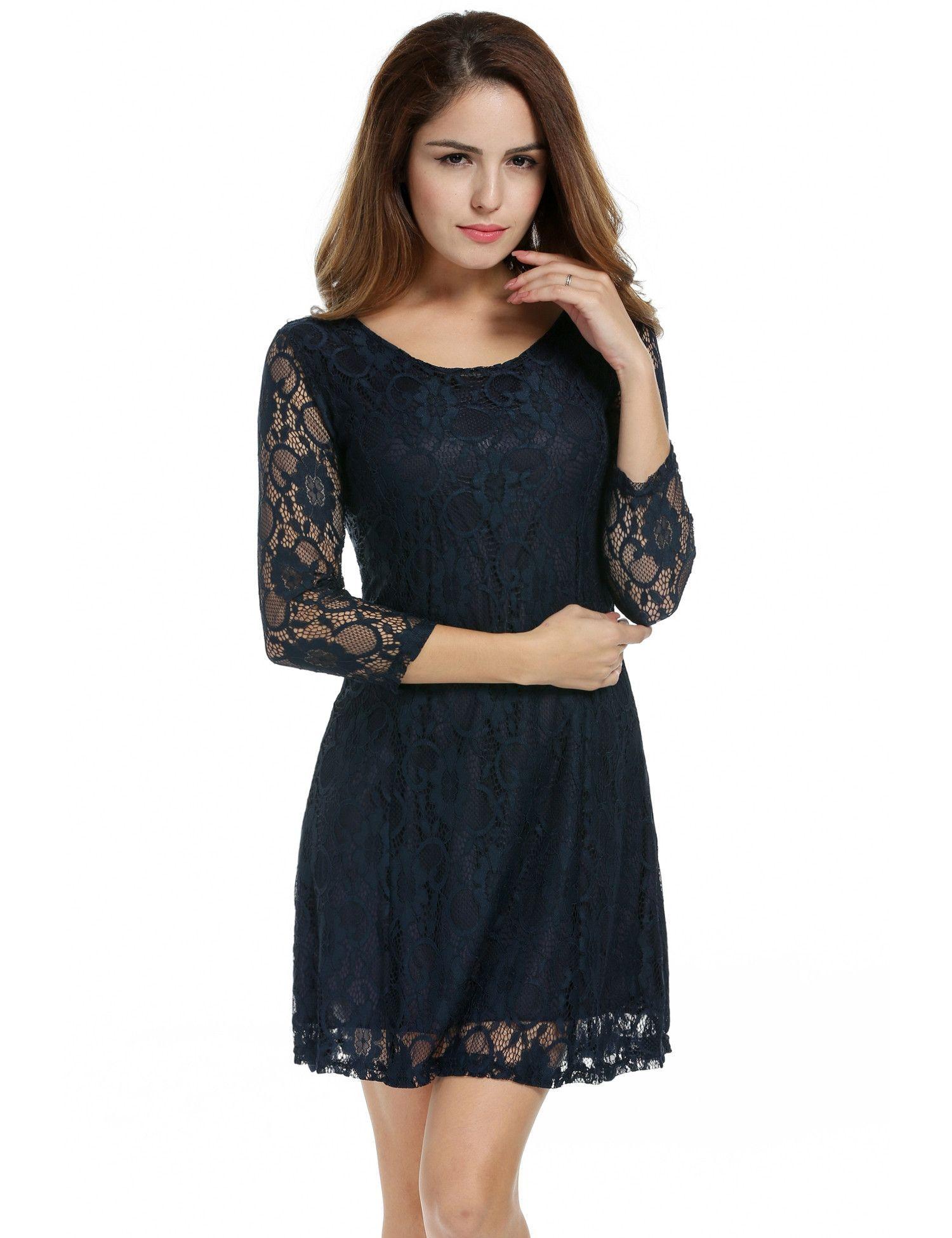 Dark blue women crochet lace sleeve aline bodycon cocktail mini