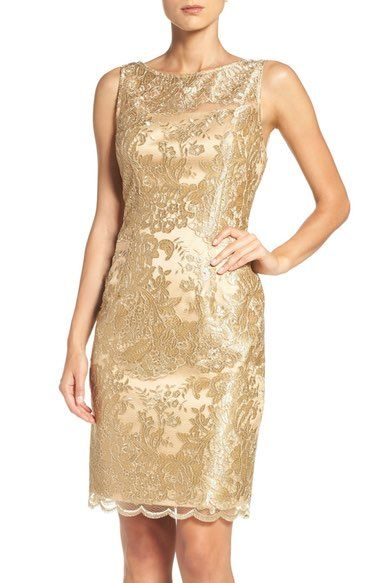 425319fa Adrianna Papell Embroidered Illusion Yoke Sheath Dress available at  #Nordstrom
