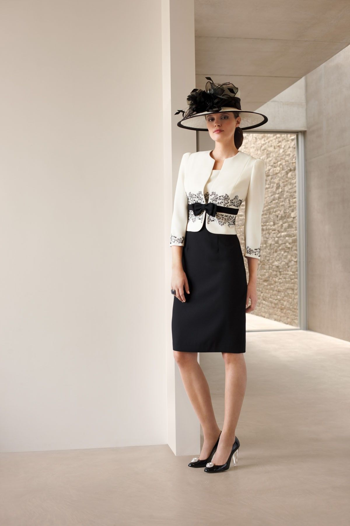 Condici Cream and Black dress and jacket (style 70754) and Hat ...