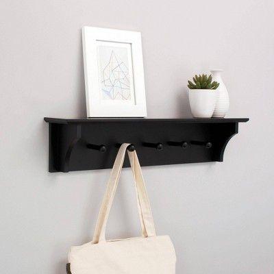 Foster Wall Shelf with Pegs Black Wall shelf rack