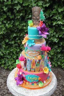 hawaii taart lekker zoet: Hawaii taart voor Indy 15 jaar | beach theme  hawaii taart