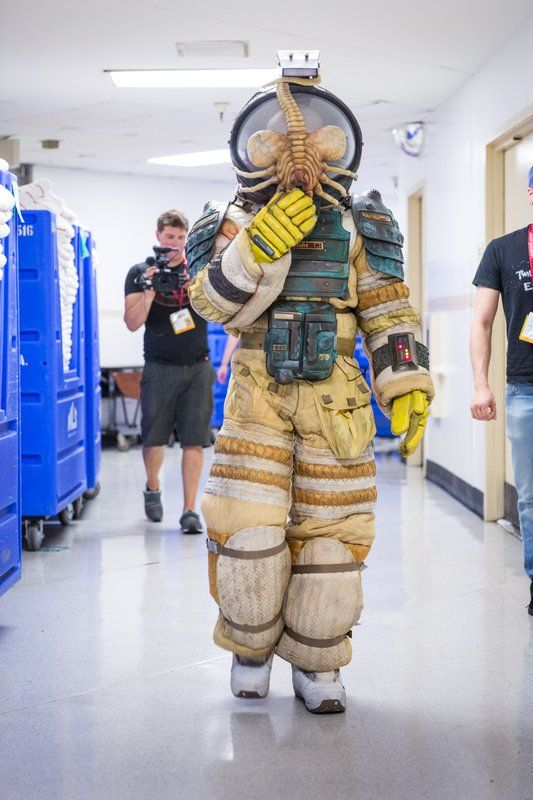 Replica suit from Ridley Scott's 'Alien' by Adam Savage, lovingly crafted over a decade, complete with face-hugger - #Cosplay - #SDCC San Diego Comic Con 2014