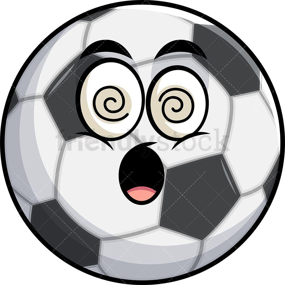 Stunned Soccer Ball Emoji Cartoon Clipart Vector Friendlystock Soccer Ball Cartoon Clip Art Emoji
