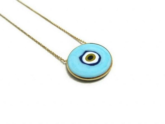Baby Blue Ceramic Evil Eye Gold Plated Necklace lunamiagifts.com