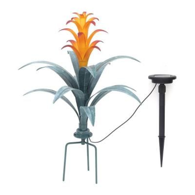 Hampton Bay Bromeliad Brown And Green Plant Solar Integrated Led Light Nxt 2649 The Home Depot Solar Led Lights Solar Led Led Lights