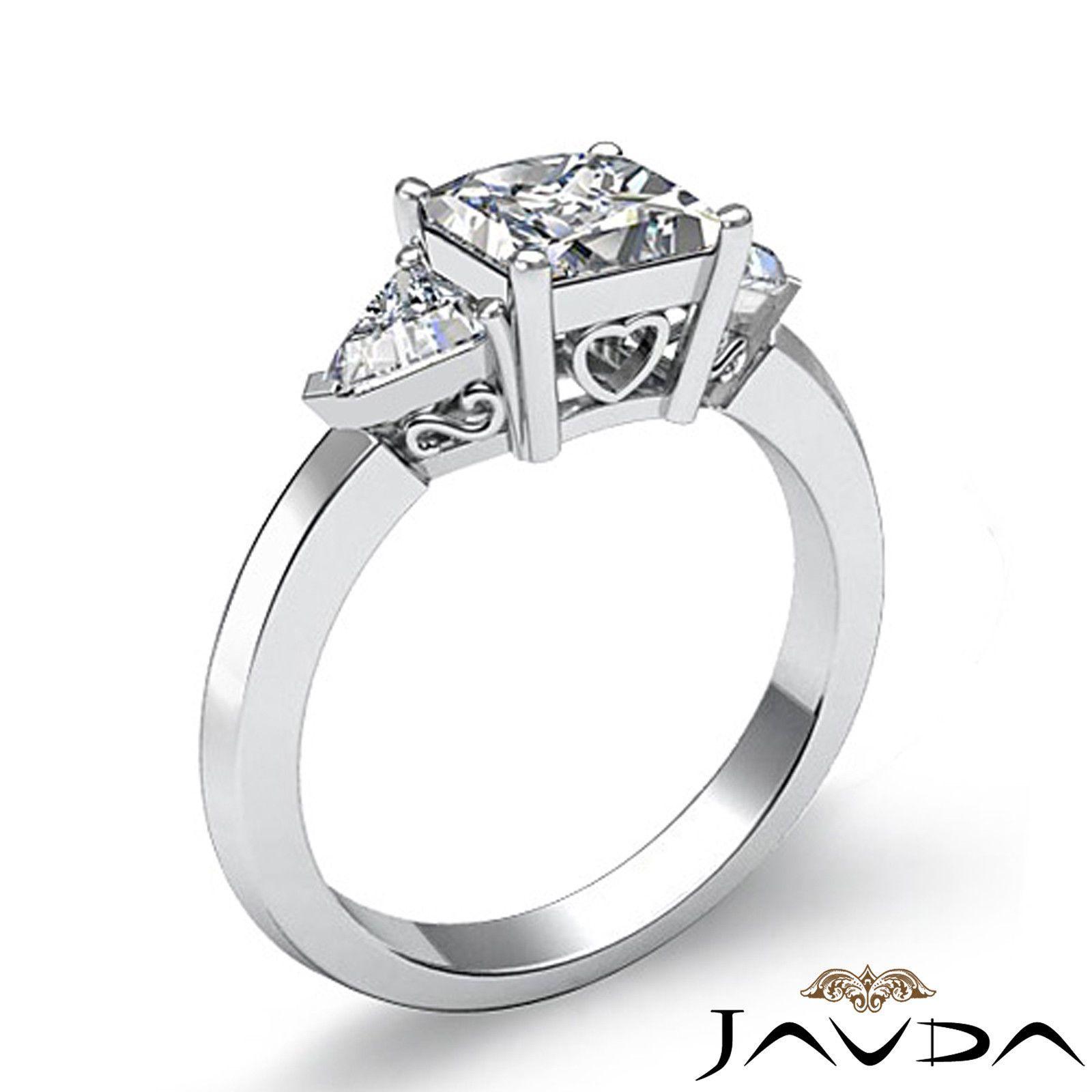 Gorgeous Princess Cut 3 Stone Diamond Engagement Ring Egl E Si1 Platinum 1  55 Ct