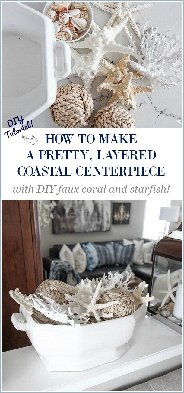 Photo of A Pretty Faux Coral & Starfish Coastal Summer Centerpiece