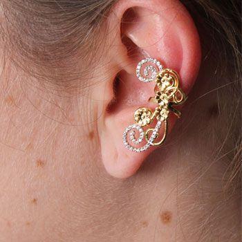 Brinco de Prata Contorno de Orelha (Ear Cuff) com Pedras e Banho de Ouro  cód.29323 7e8327824c