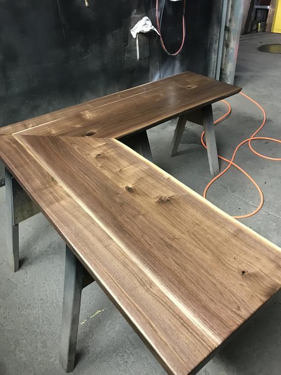 L Shaped Desk Walnut Top Steel Base